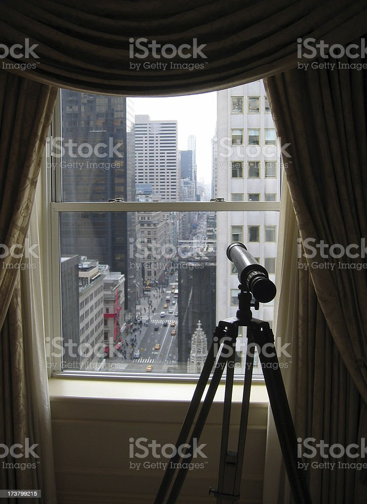 Telescope in Hotel room in New York City royalty-free stock photo