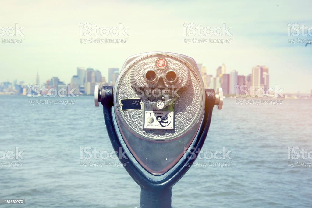 Telescope in New York stock photo