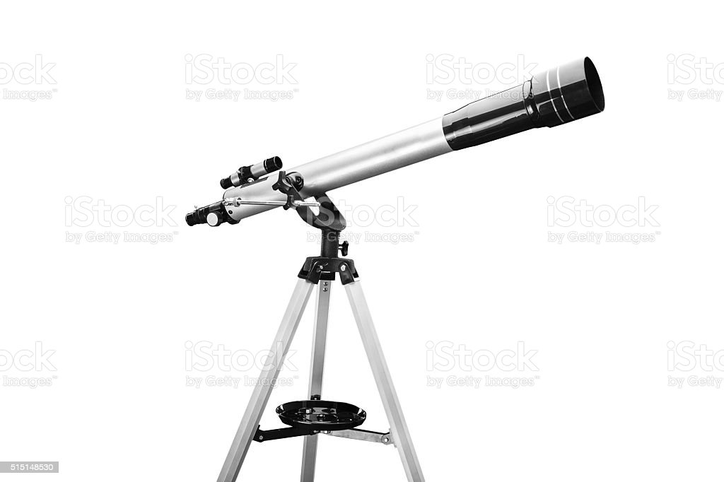 Telescope isolated on a white background stock photo