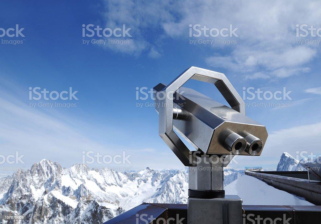 Telescope On Alps Snow Mountain Viewing Platform - XLarge stock photo