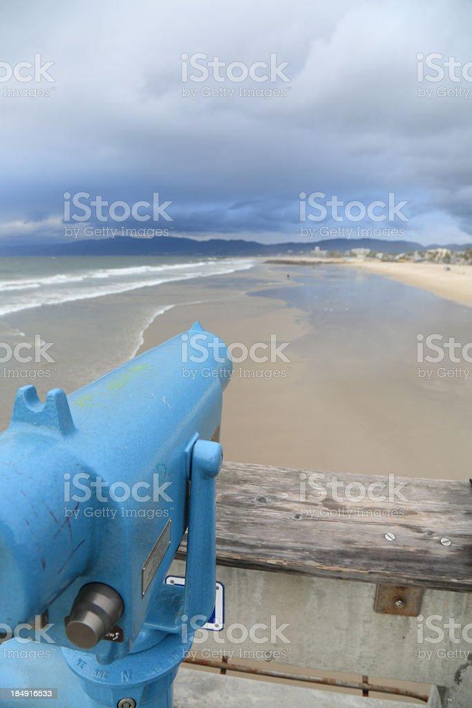 Telescope on Santa Monica pier royalty-free stock photo