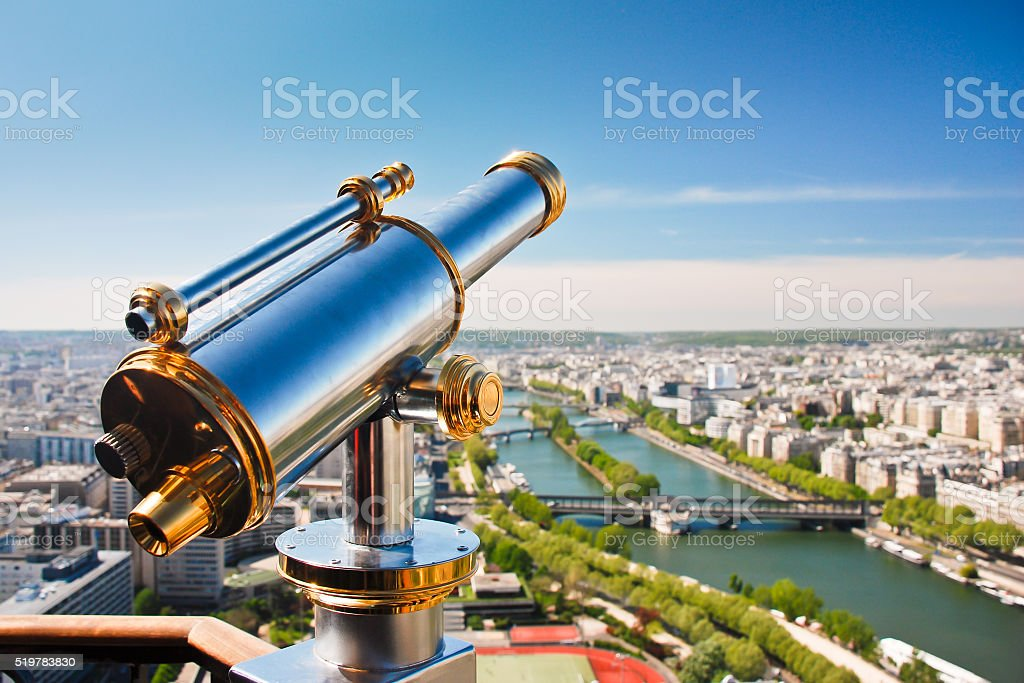Telescope on the viewpoint with view of the Seine river. stock photo