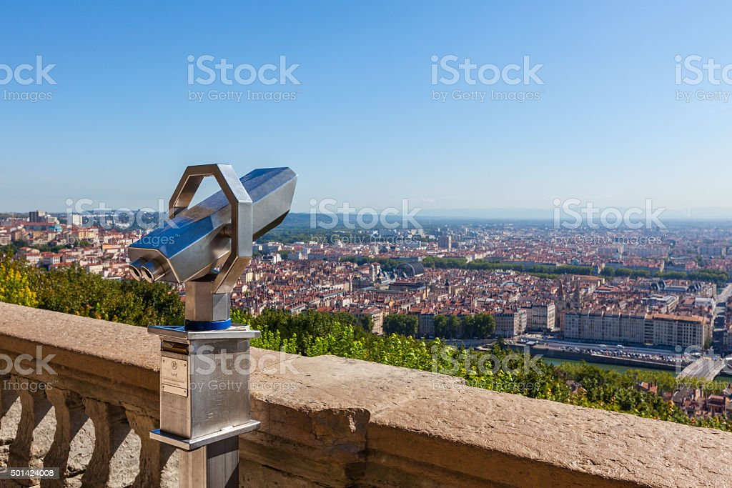 Telescope overlooking for Lyon, France, cityscape from above stock photo