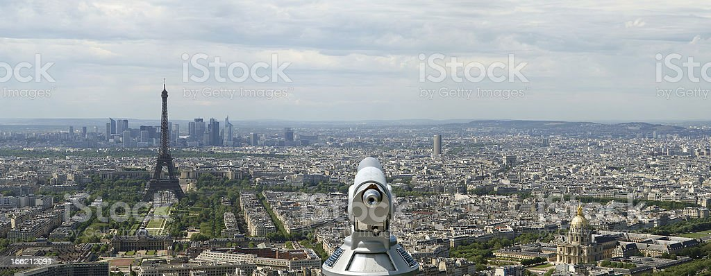 Telescope viewer and city skyline at daytime. Paris, France royalty-free stock photo