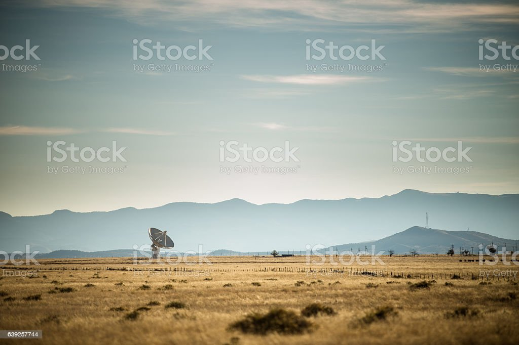 VLA Telescopes Against Shadowy Mountains stock photo