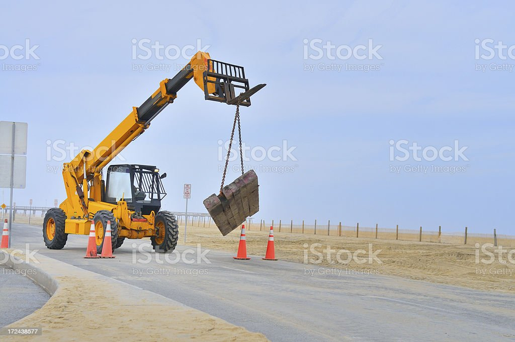 Telescopic Forklift Carrying Load stock photo