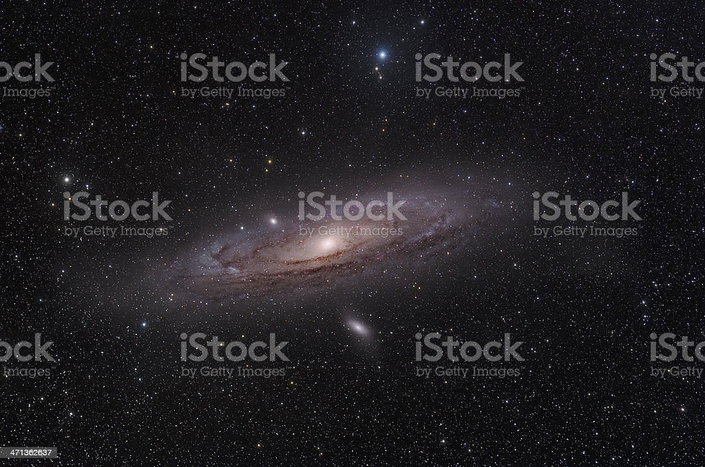Telescopic photo of the Andromeda Galaxy stock photo