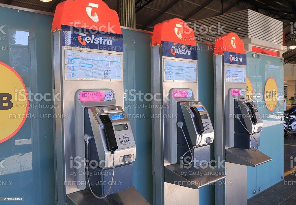 Telestra public phone Australia stock photo