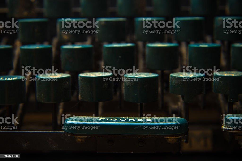 Teletype Typewriter Keyboard Close Up stock photo