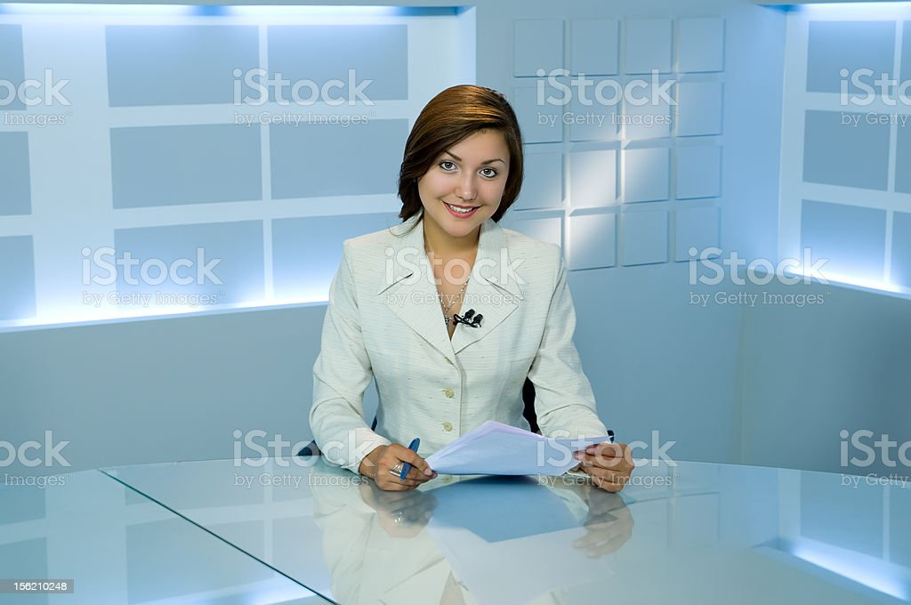 television anchorwoman stock photo