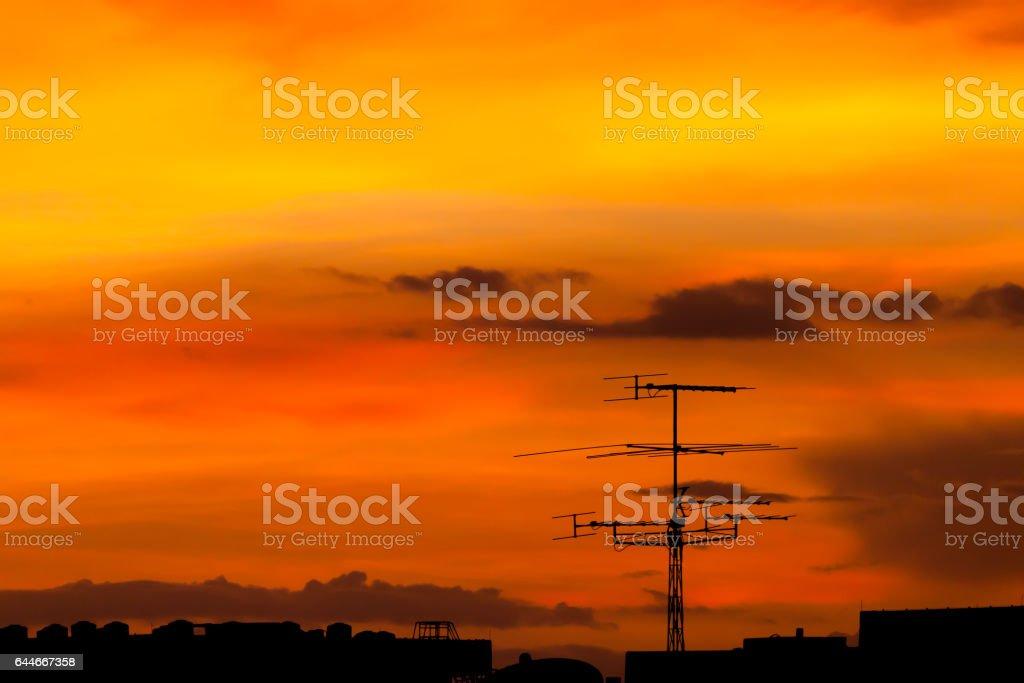Television antenna stock photo