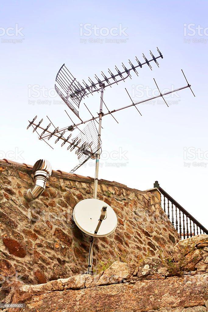 Television antennas stock photo