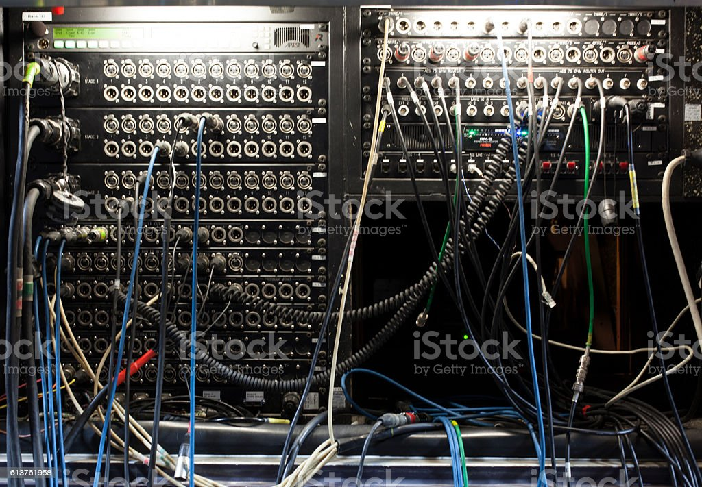Television Broadcast Gallery. button on the control panel television equipment stock photo