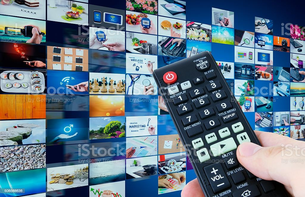 Television broadcast multimedia abstract composition stock photo