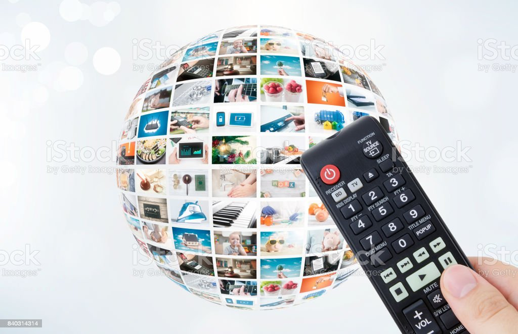 Television broadcast multimedia sphere abstract composition stock photo