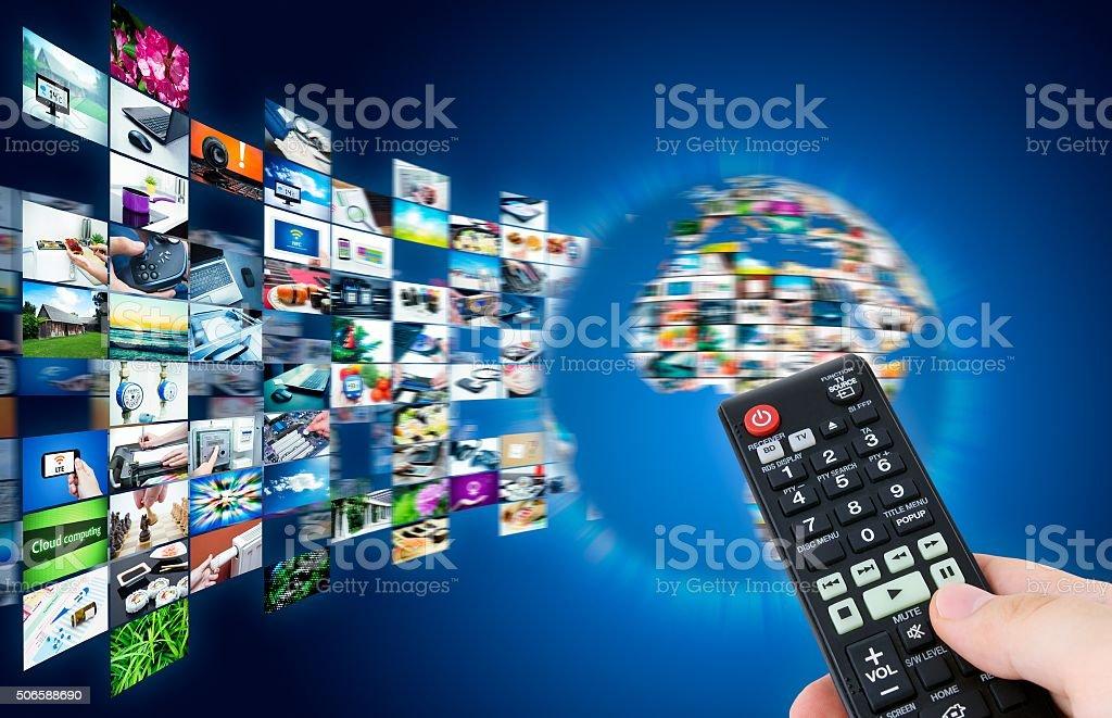 Television broadcast streaming multimedia. Earth globe compositi stock photo