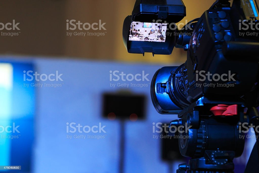 television camera at a conference stock photo