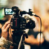 Television camera at press conference