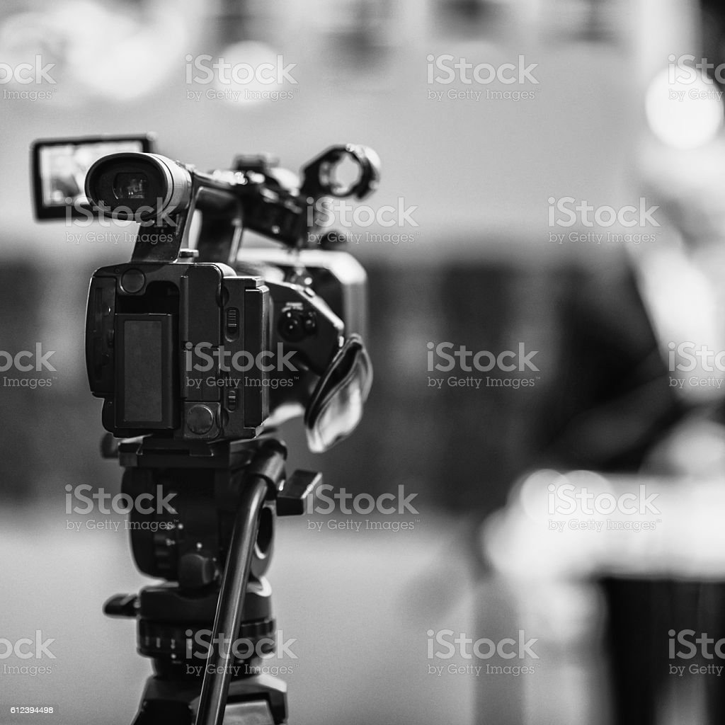 Television camera on a press conference stock photo