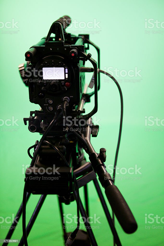 Television Camera on Green Screen Background royalty-free stock photo