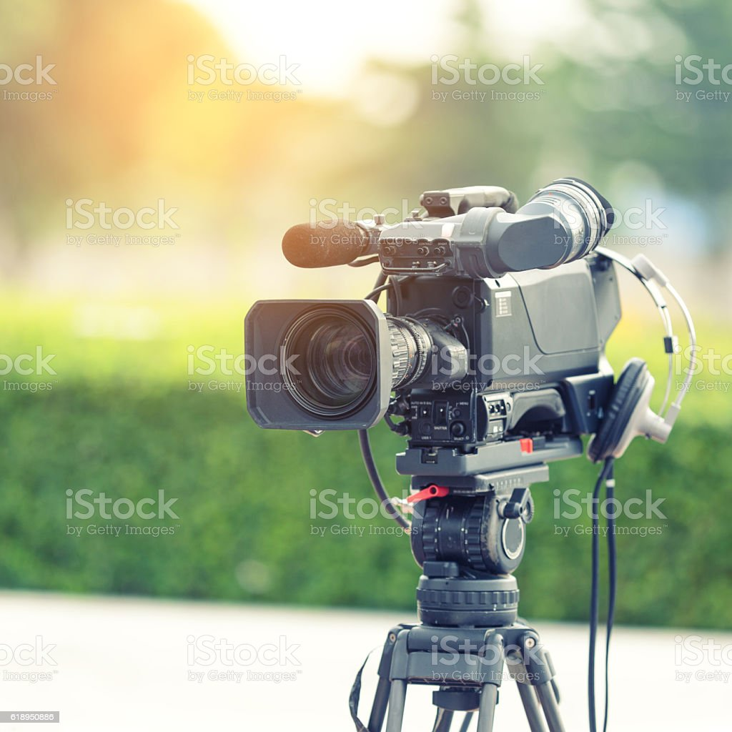 Television camera recording publicity event stock photo