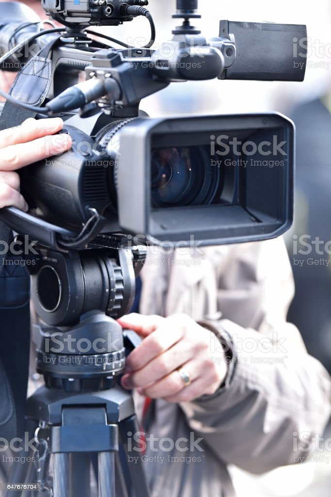Television cameras in a row broadcasting stock photo
