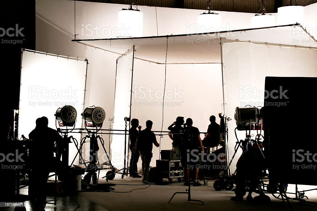 Television comercial production set. stock photo