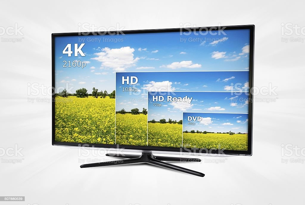 4K television display with comparison of resolutions stock photo