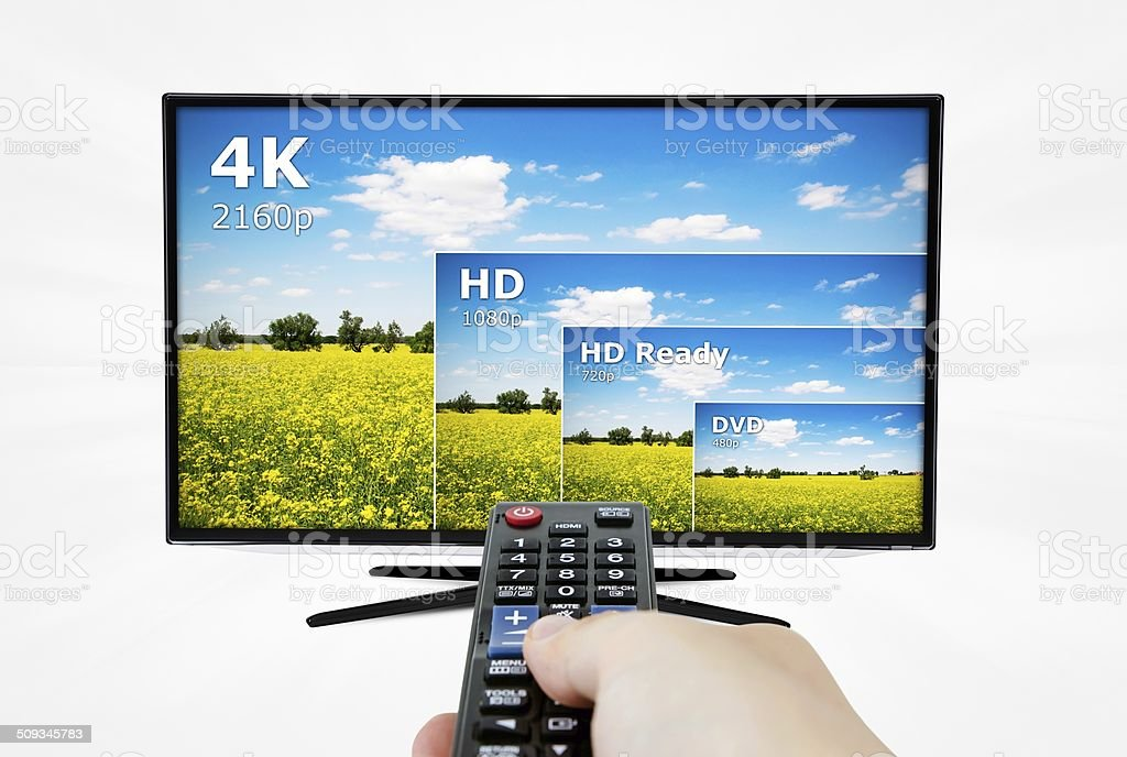 4K television display with comparison of resolutions. stock photo