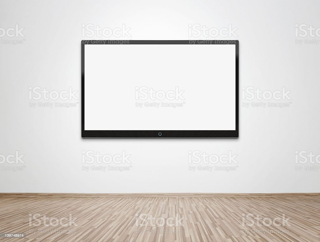 Television displaying white hung on a white wall stock photo