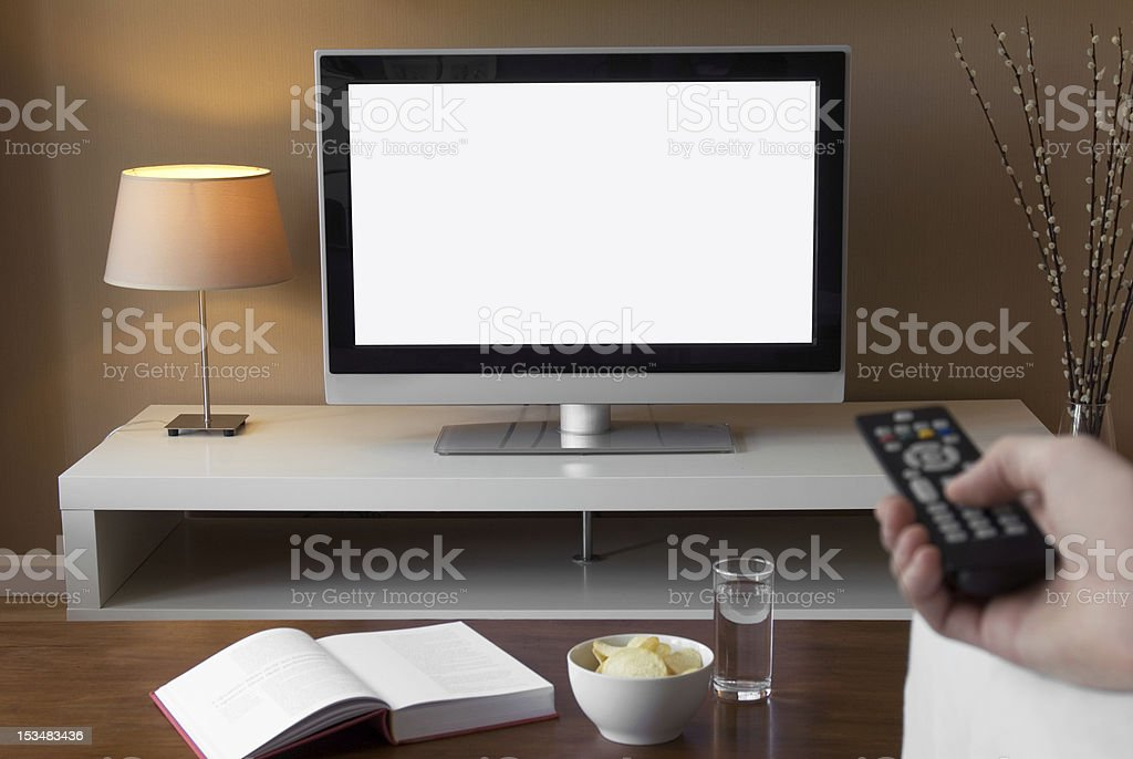 A HD television in a living room royalty-free stock photo