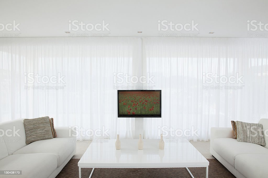 Television in modern living room royalty-free stock photo