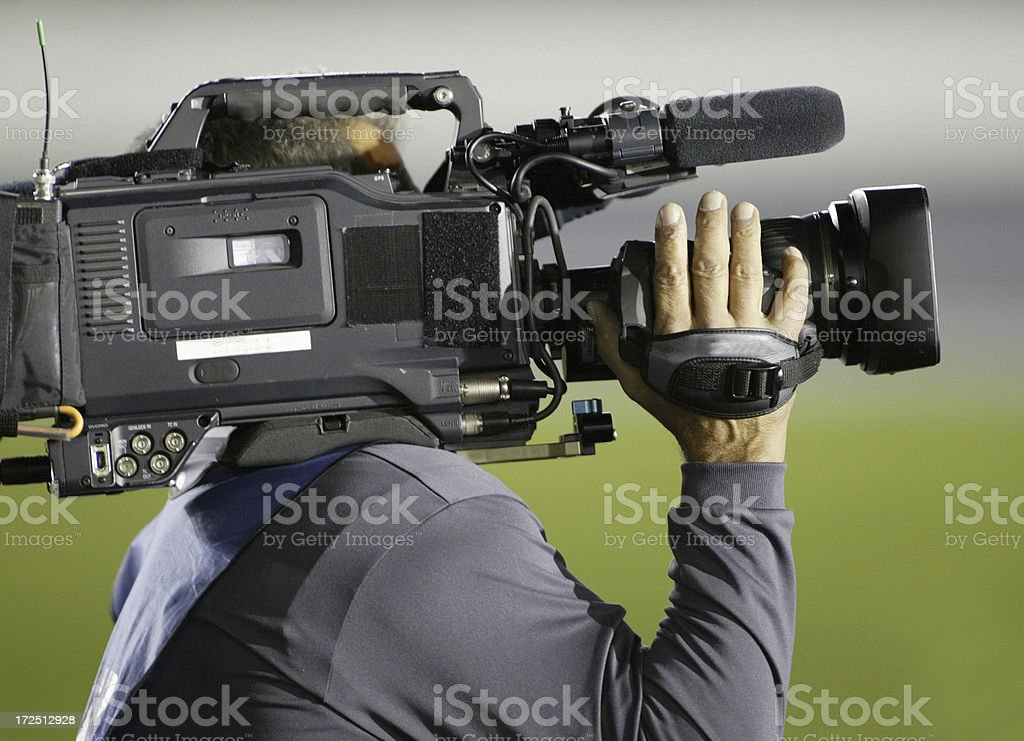 television news crew covers the story royalty-free stock photo
