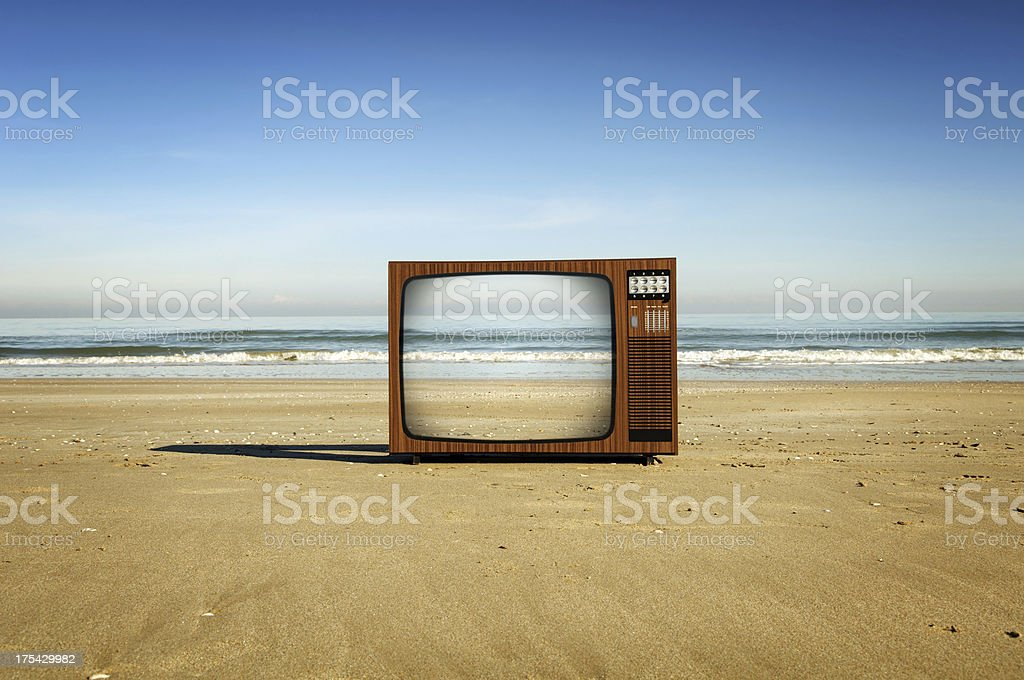 Television On The Beach royalty-free stock photo