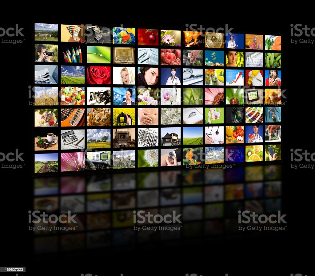Television production concept. TV movie panels stock photo