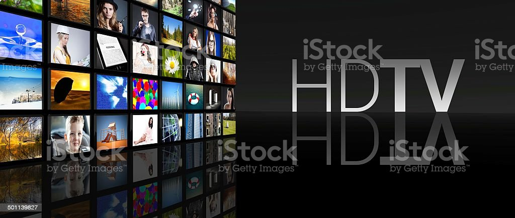 HD TV television screens black background stock photo