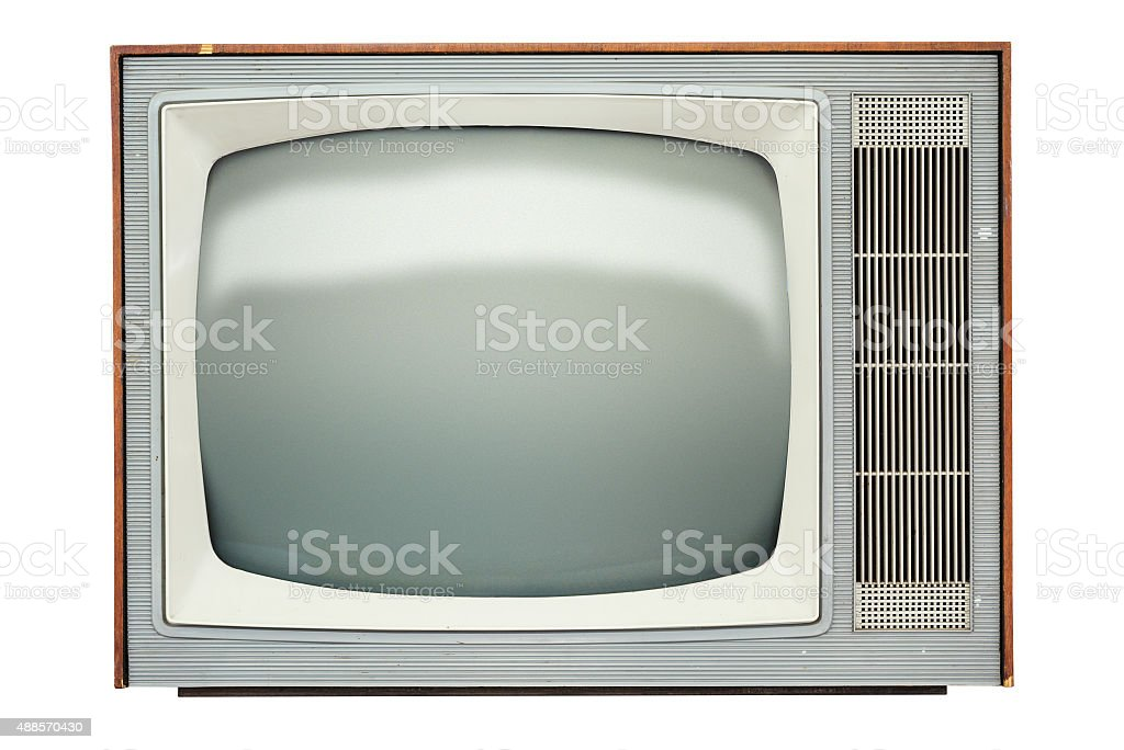 Television Set, Retro Styled, Old-fashioned, Old, Isolated stock photo