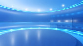 Television studio background with stage and blue lights