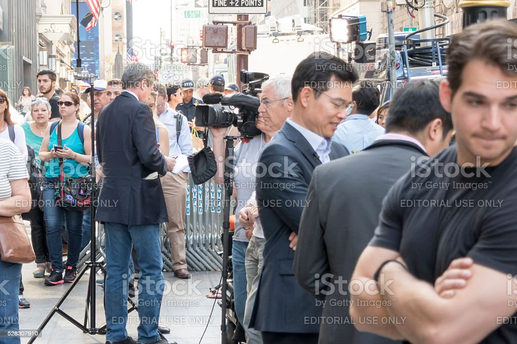 Television team and people are waiting Donald Trump stock photo