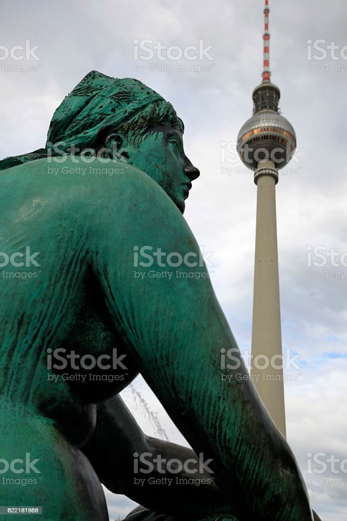 Television Tower close to Alexanderplatz in Berlin stock photo