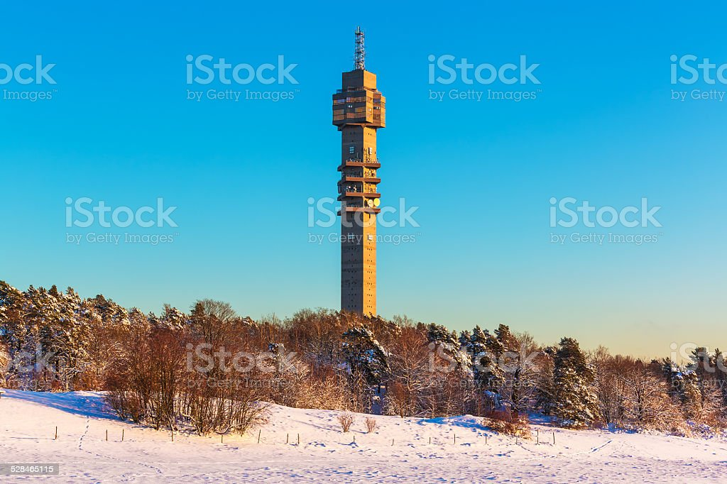Television tower in Stockholm, Sweden stock photo