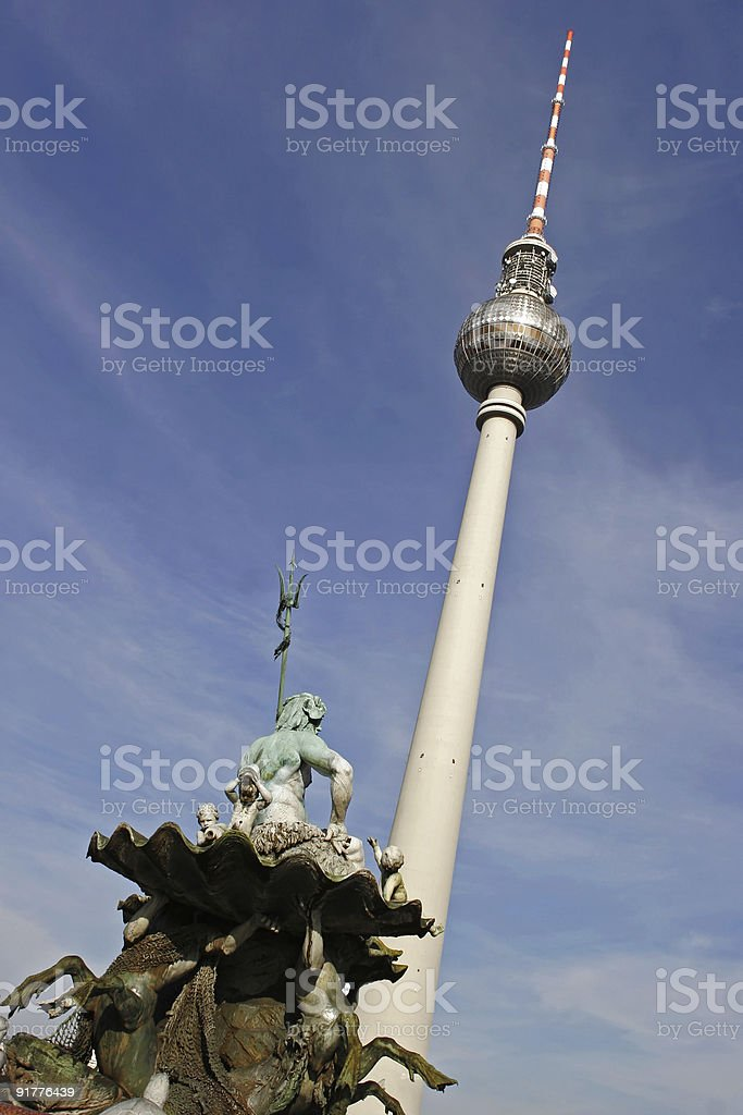 Televisiontower and the Neptune Fountain in Berlin stock photo