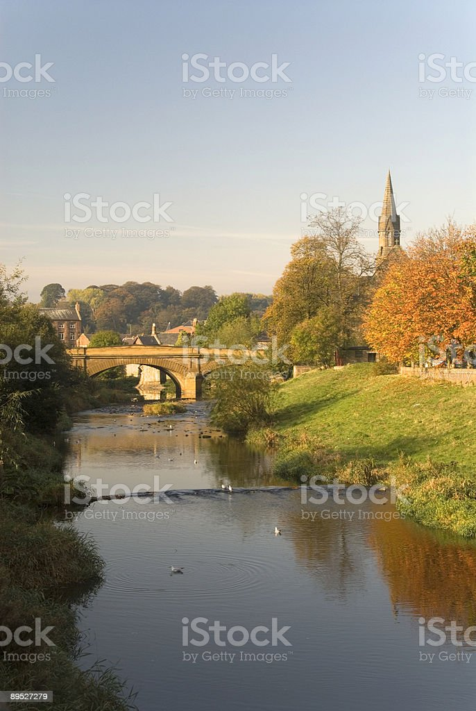 Telford Bridge and the River Wansbeck, Morpeth stock photo