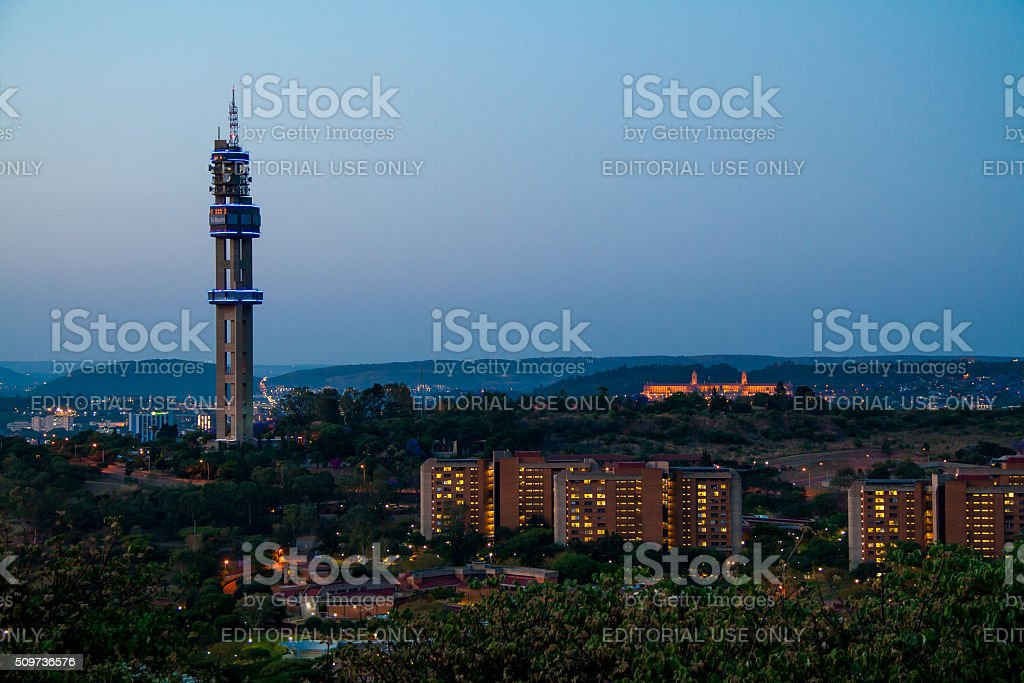 Telkom tower in Pretoria from Fort Klapperkop stock photo