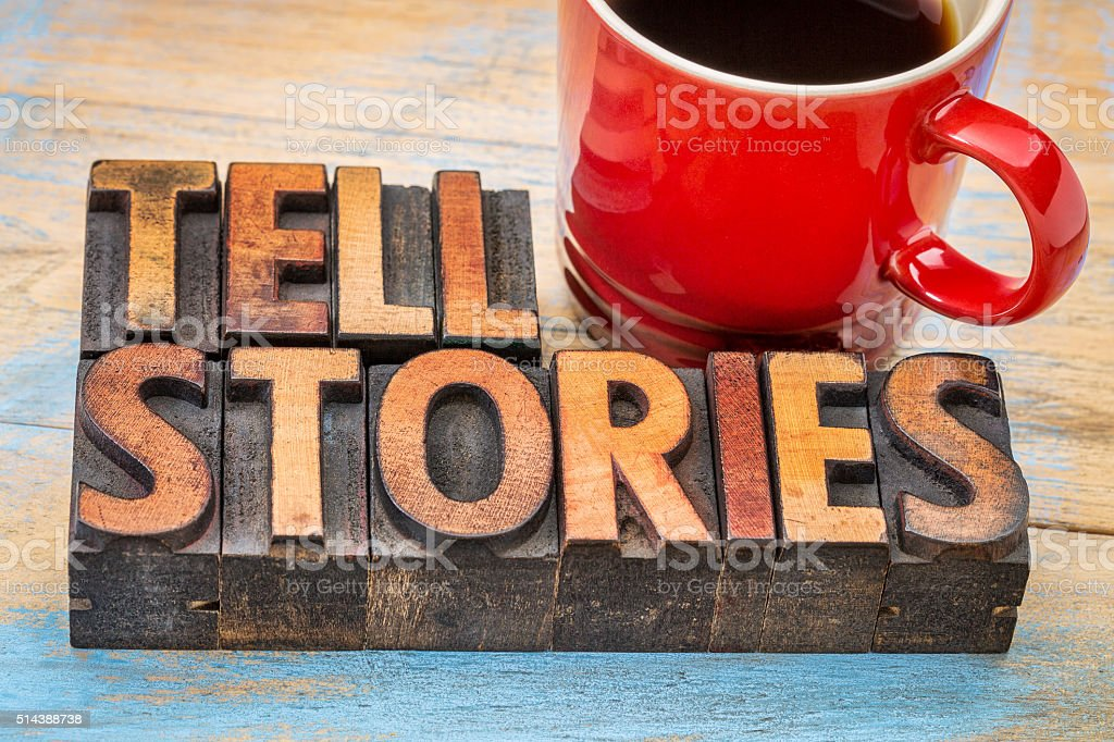 tell stories words in wood type stock photo