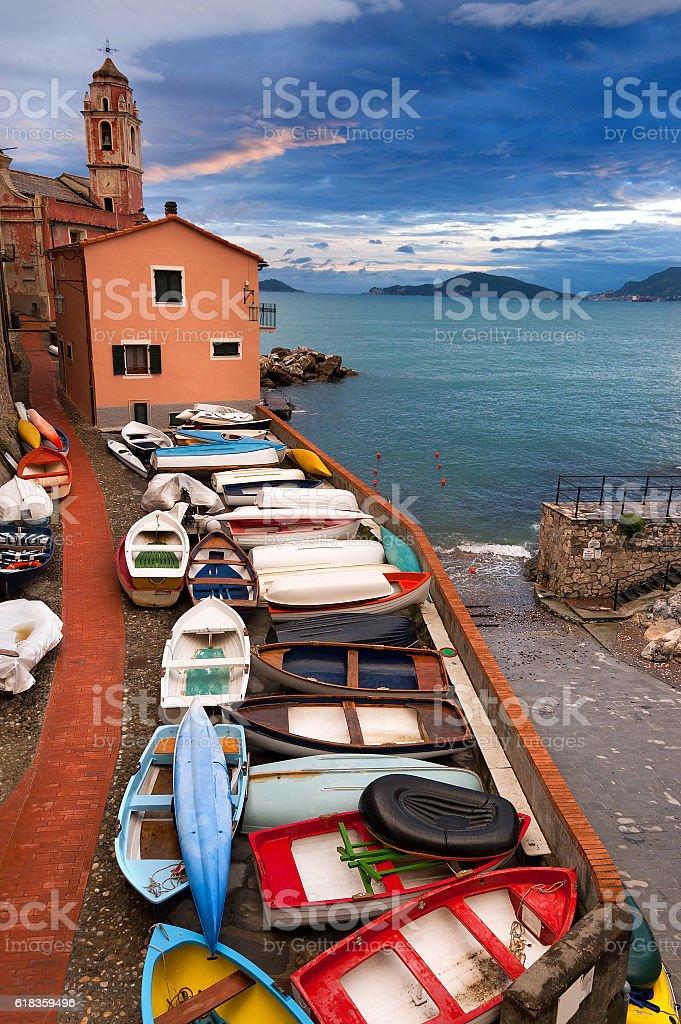 Tellaro Village at Dusk - Liguria Italy stock photo