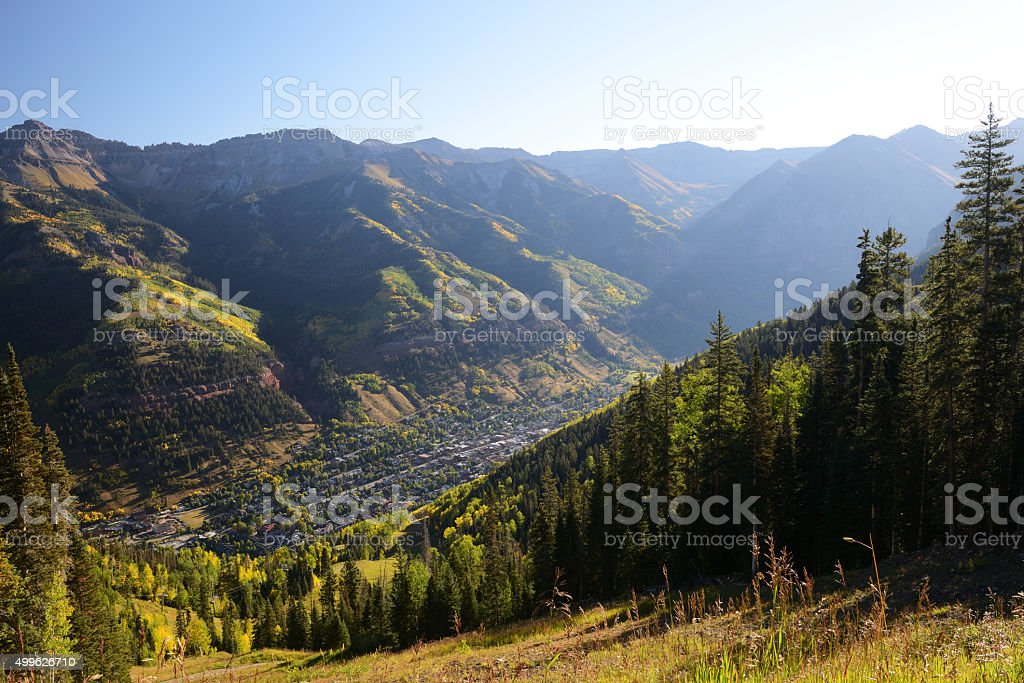 Telluride and surrounding mountain peaks stock photo