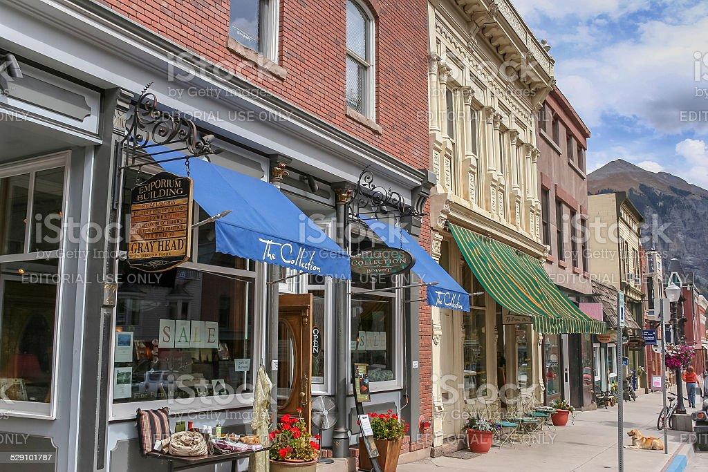 Telluride main street shops in Colorado stock photo