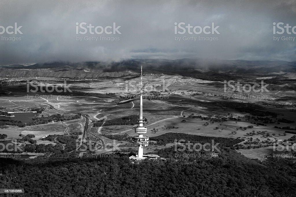 Telstra Tower Canberra Australia aerial stock photo