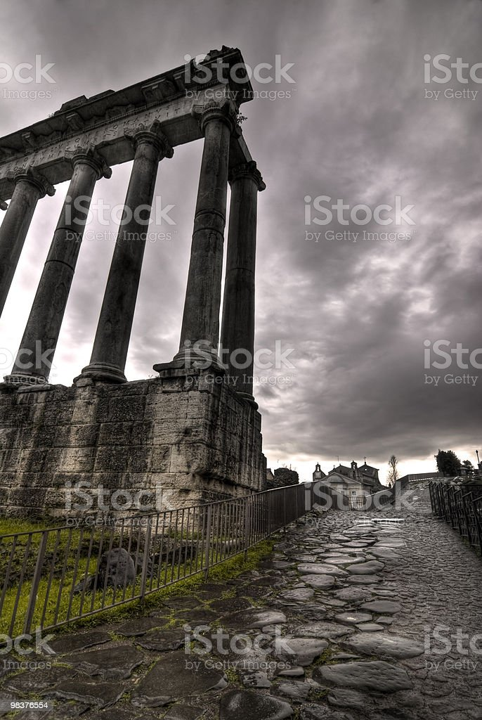 Temle of Saturn and road to the Capitoline Hill royalty-free stock photo